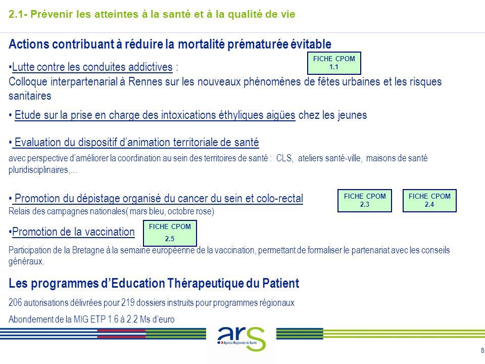 8 Actions contribuant à réduire la mortalité prématurée évitable Lutte contre les conduites addictives : Colloque interpartenarial à Rennes sur les no