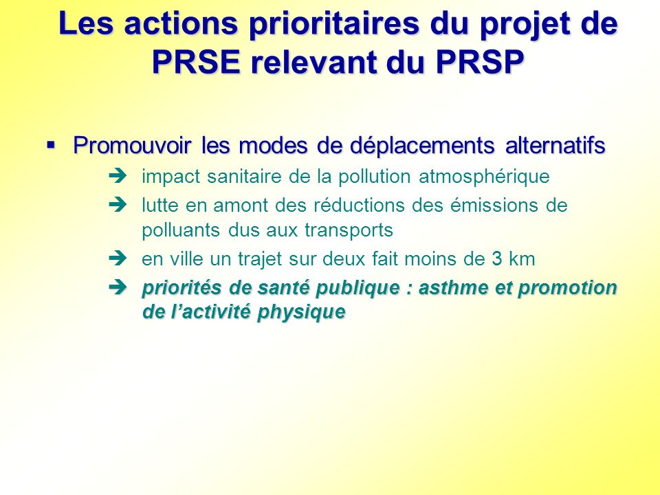 Les actions prioritaires du projet de PRSE relevant du PRSP Promouvoir les modes de déplacements alternatifs Promouvoir les modes de déplacements alte