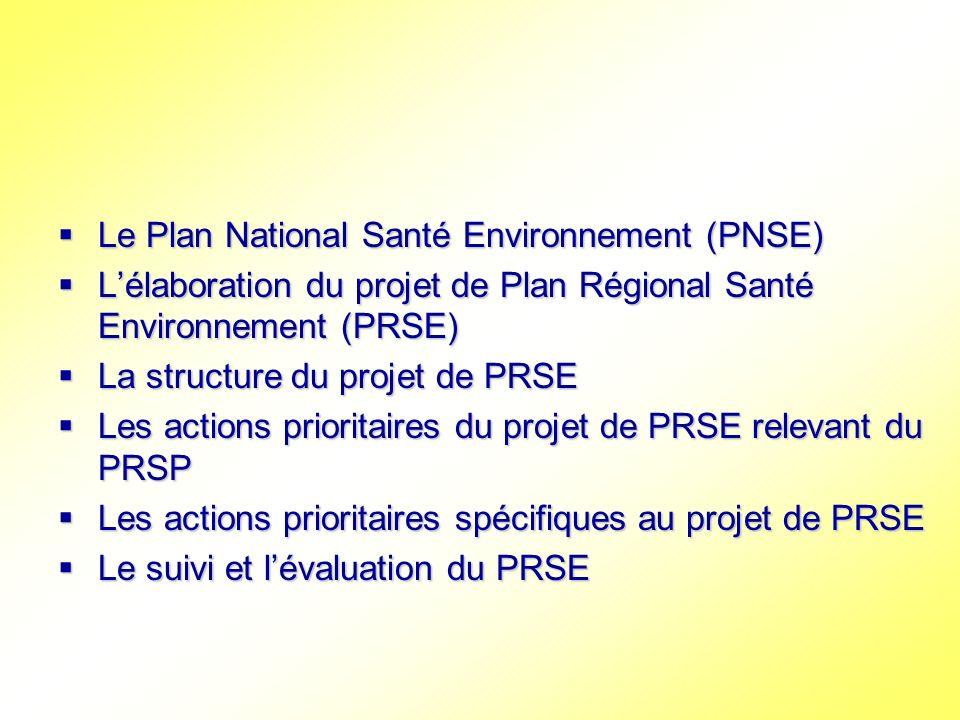 Le Plan National Santé Environnement (PNSE) Le Plan National Santé Environnement (PNSE) Lélaboration du projet de Plan Régional Santé Environnement (P