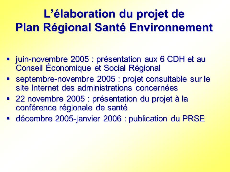 Lélaboration du projet de Plan Régional Santé Environnement juin-novembre 2005 : présentation aux 6 CDH et au Conseil Économique et Social Régional ju