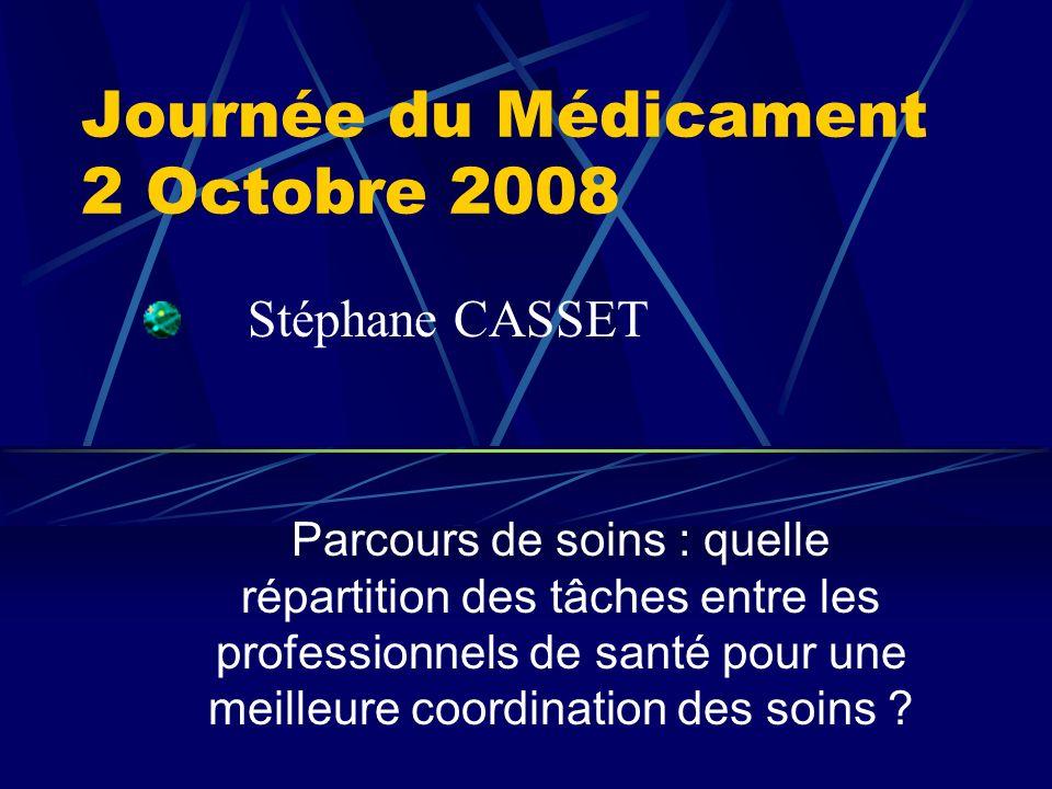 Journée du Médicament 2 Octobre 2008 Parcours de soins : quelle répartition des tâches entre les professionnels de santé pour une meilleure coordination des soins .