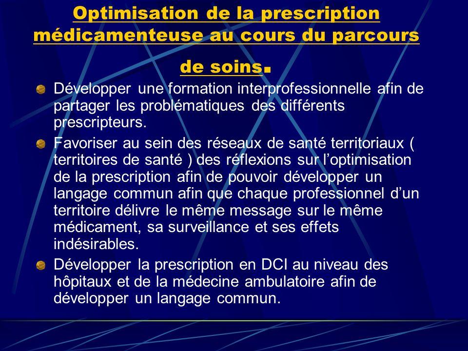 Optimisation de la prescription médicamenteuse au cours du parcours de soins.
