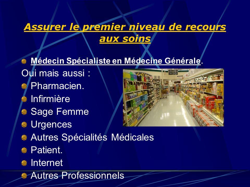Assurer le premier niveau de recours aux soins Médecin Spécialiste en Médecine Générale.