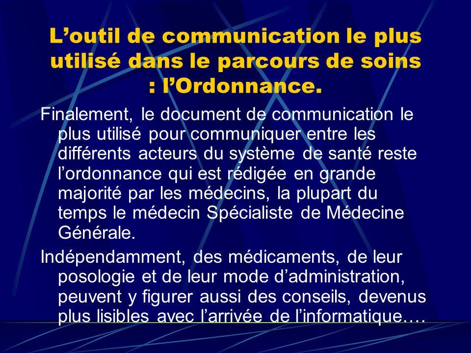 Loutil de communication le plus utilisé dans le parcours de soins : lOrdonnance.