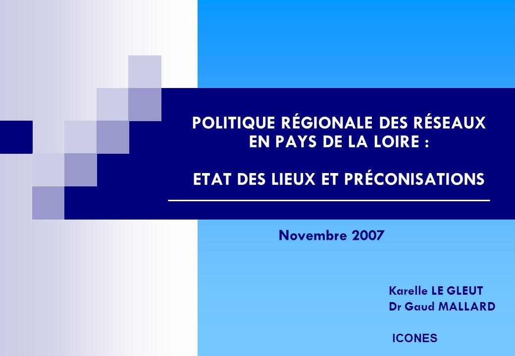 POLITIQUE RÉGIONALE DES RÉSEAUX EN PAYS DE LA LOIRE : ETAT DES LIEUX ET PRÉCONISATIONS Karelle LE GLEUT Dr Gaud MALLARD ICONES Novembre 2007