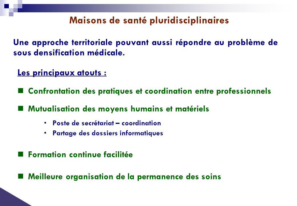 Les principaux atouts : Confrontation des pratiques et coordination entre professionnels Mutualisation des moyens humains et matériels Poste de secrét