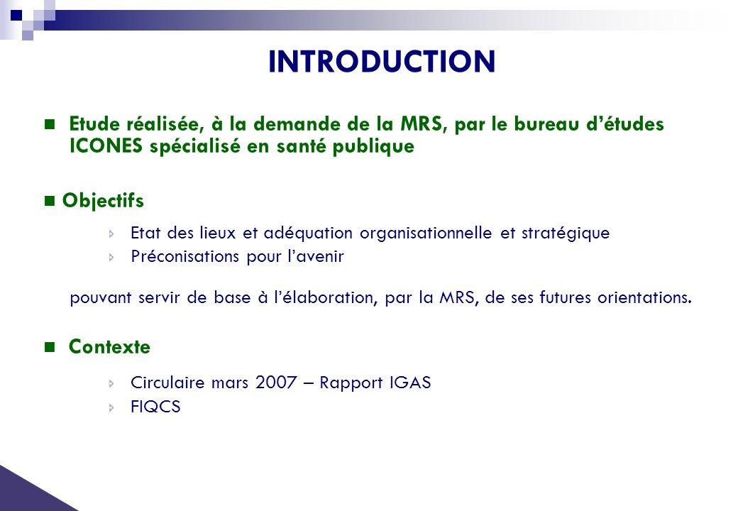 INTRODUCTION Etude réalisée, à la demande de la MRS, par le bureau détudes ICONES spécialisé en santé publique Objectifs Etat des lieux et adéquation