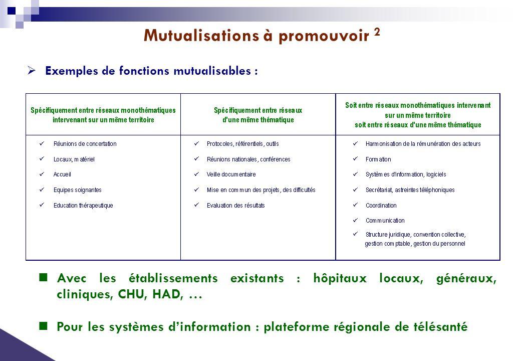 Exemples de fonctions mutualisables : Avec les établissements existants : hôpitaux locaux, généraux, cliniques, CHU, HAD, … Pour les systèmes dinforma