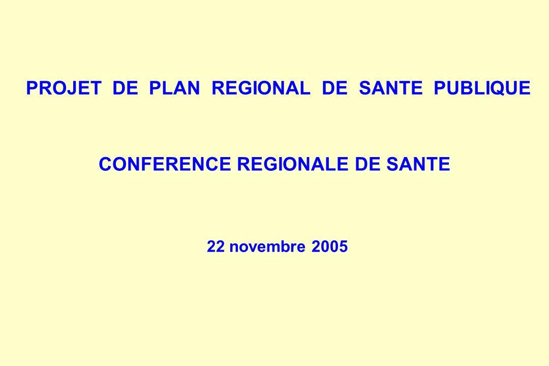 PROJET DE PLAN REGIONAL DE SANTE PUBLIQUE CONFERENCE REGIONALE DE SANTE 22 novembre 2005