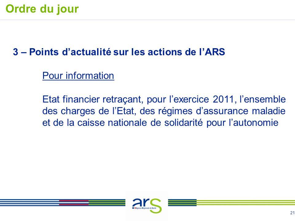 21 Ordre du jour 3 – Points dactualité sur les actions de lARS Pour information Etat financier retraçant, pour lexercice 2011, lensemble des charges d