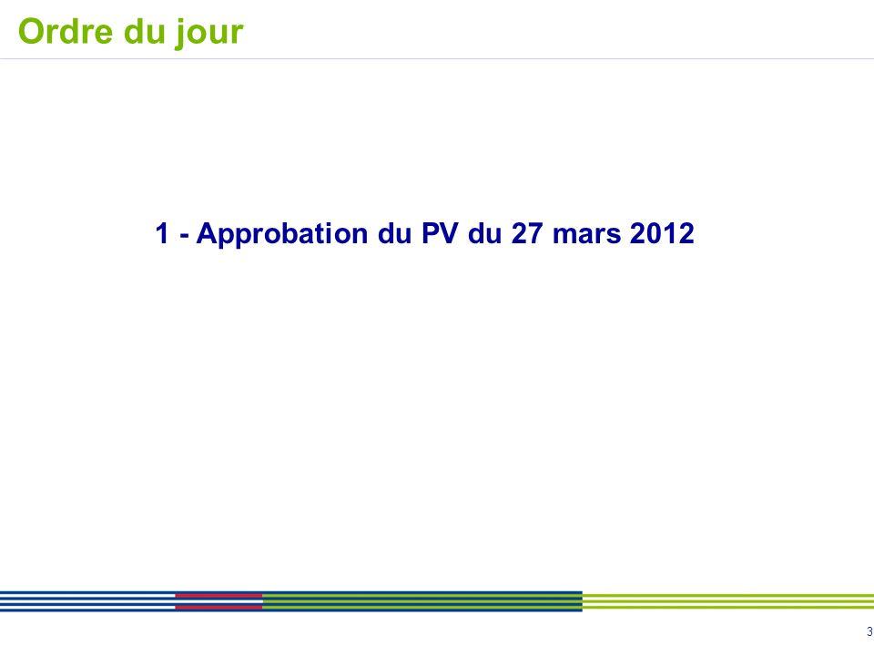 3 1 - Approbation du PV du 27 mars 2012 Ordre du jour