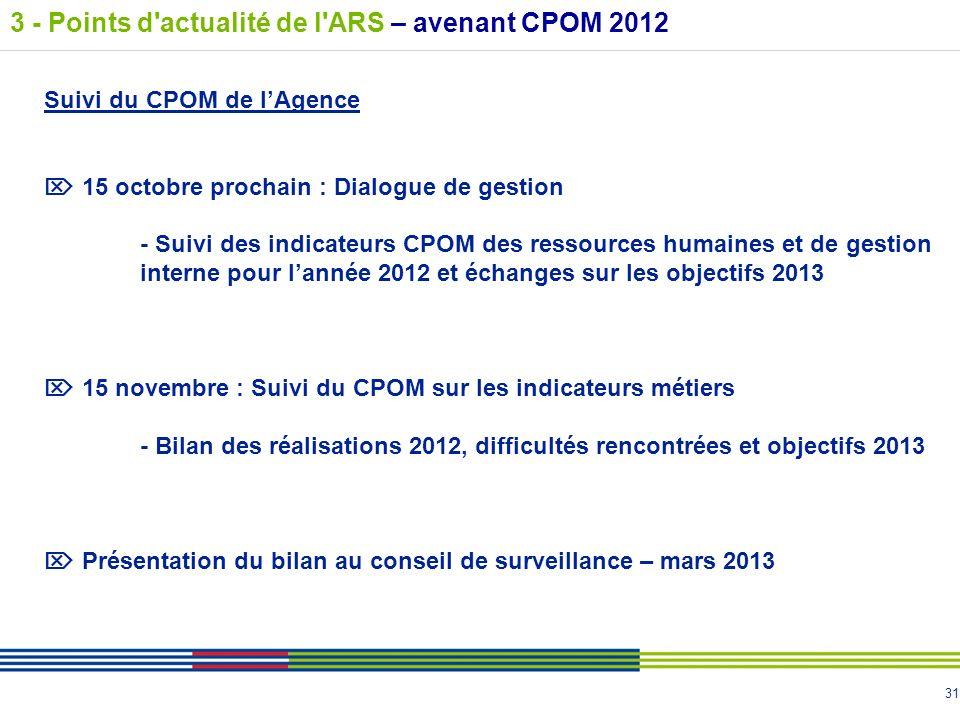 31 Suivi du CPOM de lAgence 15 octobre prochain : Dialogue de gestion - Suivi des indicateurs CPOM des ressources humaines et de gestion interne pour