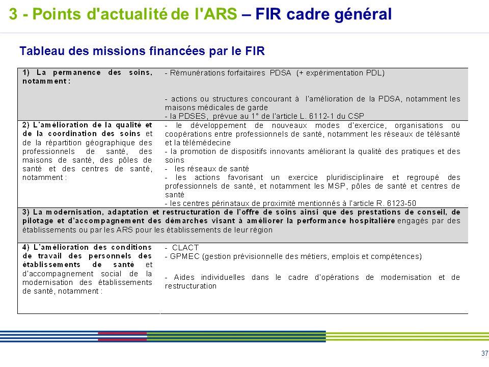 37 Tableau des missions financées par le FIR 3 - Points d'actualité de l'ARS – FIR cadre général
