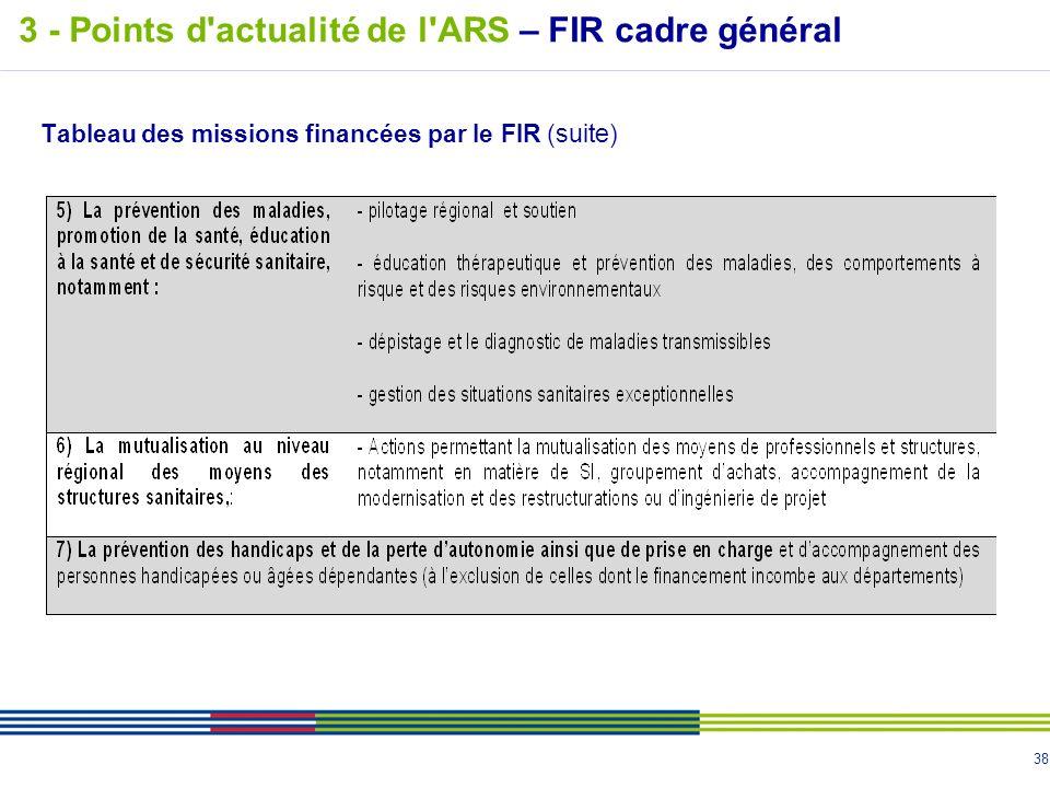 38 Tableau des missions financées par le FIR (suite) 3 - Points d'actualité de l'ARS – FIR cadre général