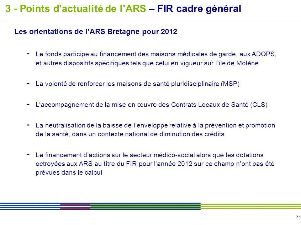 39 Les orientations de lARS Bretagne pour 2012 - Le fonds participe au financement des maisons médicales de garde, aux ADOPS, et autres dispositifs sp