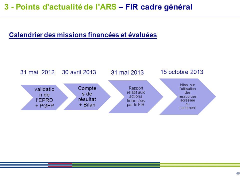 40 Calendrier des missions financées et évaluées 31 mai 201230 avril 2013 31 mai 2013 15 octobre 2013 3 - Points d'actualité de l'ARS – FIR cadre géné