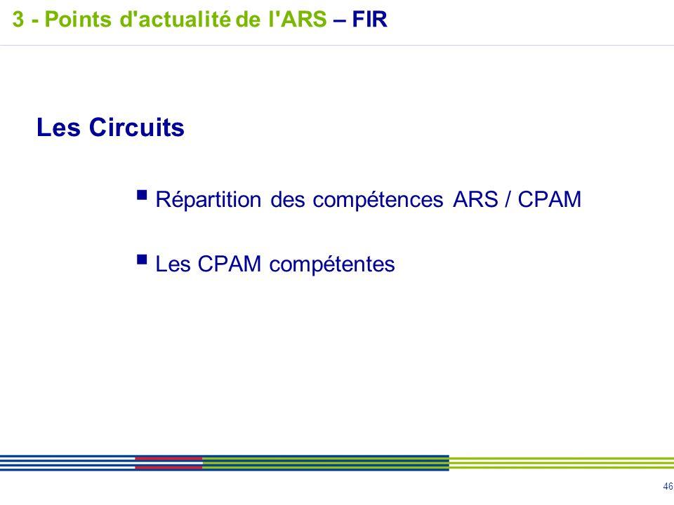 46 Les Circuits Répartition des compétences ARS / CPAM Les CPAM compétentes 3 - Points d'actualité de l'ARS – FIR