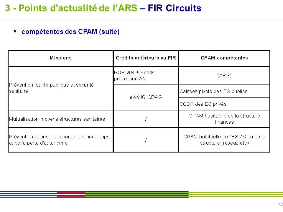 49 compétentes des CPAM (suite) 3 - Points d'actualité de l'ARS – FIR Circuits