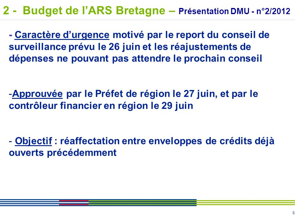 7 MOUVEMENTS ENTRE ENVELOPPES Investissement Fonctionnement Investissement Intervention 11 581 3 626 34 500 2 - Budget de lARS Bretagne – Présentation DMU - n°2/2012