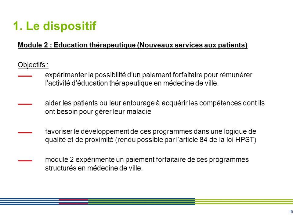 10 1. Le dispositif Module 2 : Education thérapeutique (Nouveaux services aux patients) Objectifs : expérimenter la possibilité dun paiement forfaitai