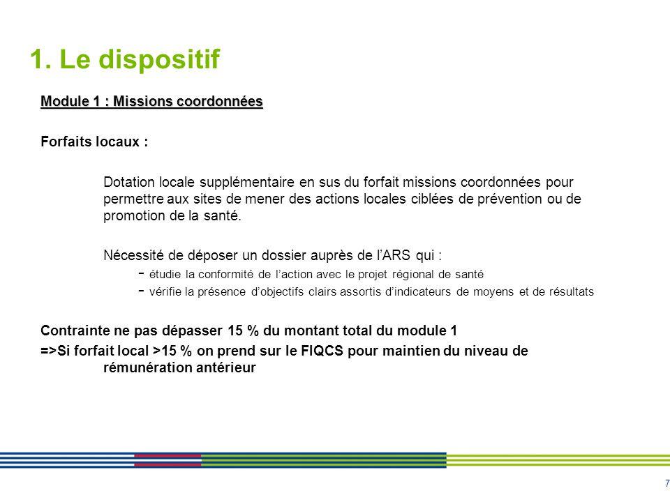 7 1. Le dispositif Module 1 : Missions coordonnées Forfaits locaux : Dotation locale supplémentaire en sus du forfait missions coordonnées pour permet