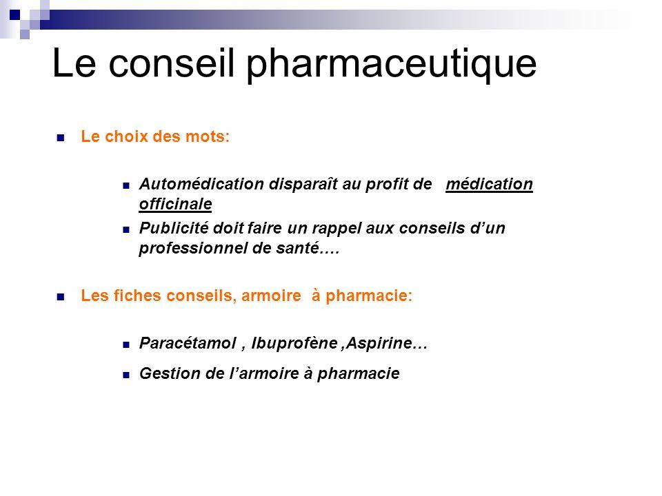 Le conseil pharmaceutique Le choix des mots: Automédication disparaît au profit de médication officinale Publicité doit faire un rappel aux conseils d