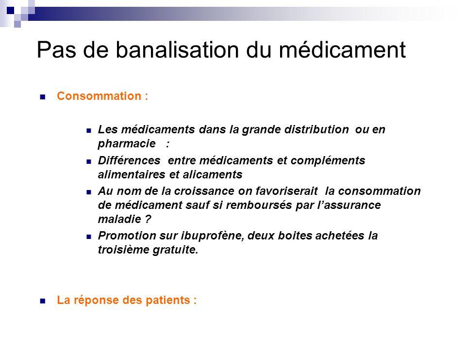 Pas de banalisation du médicament Consommation : Les médicaments dans la grande distribution ou en pharmacie : Différences entre médicaments et complé