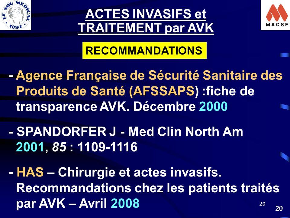 20 - Agence Française de Sécurité Sanitaire des Produits de Santé (AFSSAPS) :fiche de transparence AVK. Décembre 2000 - SPANDORFER J - Med Clin North
