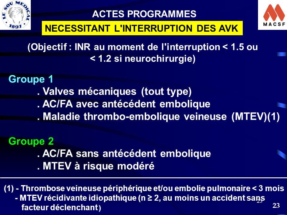 23 ACTES PROGRAMMES NECESSITANT L'INTERRUPTION DES AVK Groupe 1. Valves mécaniques (tout type). AC/FA avec antécédent embolique. Maladie thrombo-embol