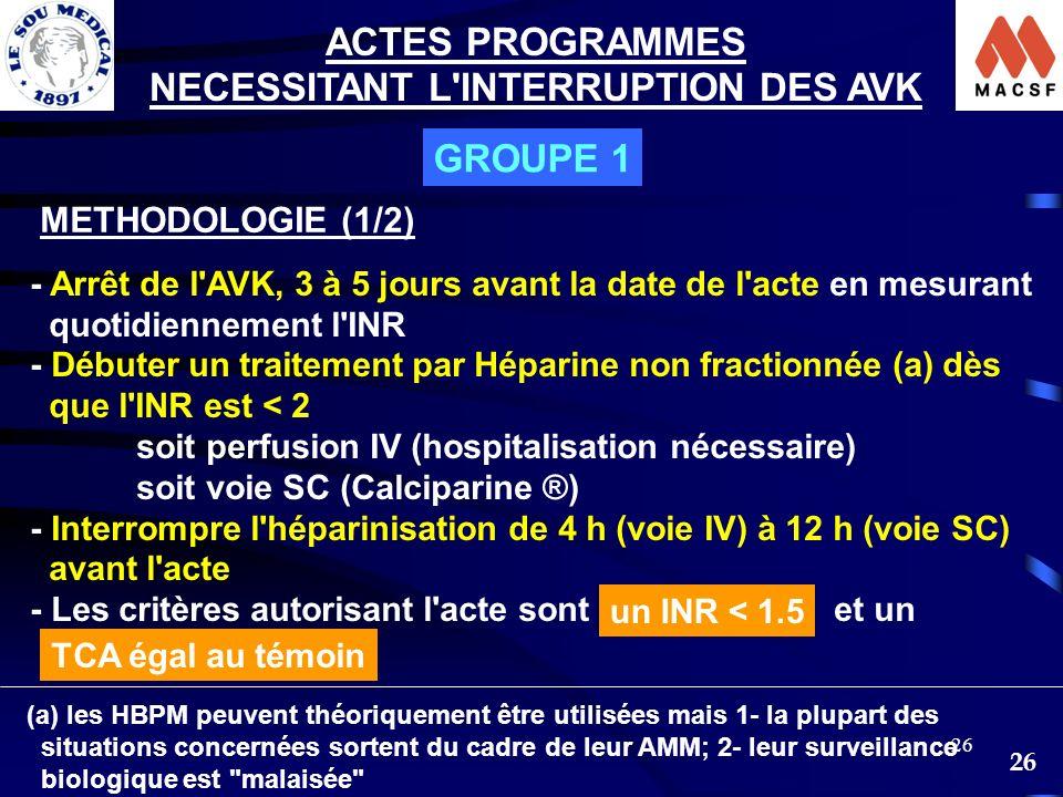 26 - Arrêt de l'AVK, 3 à 5 jours avant la date de l'acte en mesurant quotidiennement l'INR - Débuter un traitement par Héparine non fractionnée (a) dè