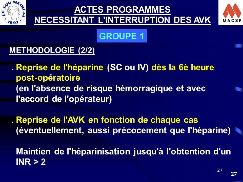 27 ACTES PROGRAMMES NECESSITANT L'INTERRUPTION DES AVK GROUPE 1 METHODOLOGIE (2/2). Reprise de l'héparine (SC ou IV) dès la 6è heure post-opératoire (