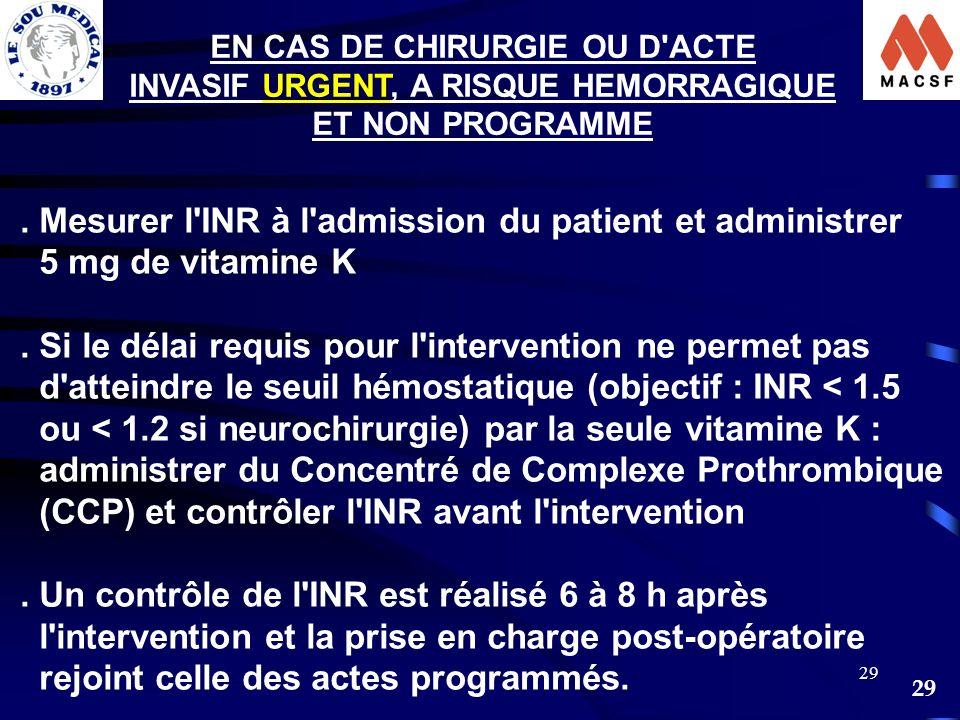 29 EN CAS DE CHIRURGIE OU D'ACTE INVASIF URGENT, A RISQUE HEMORRAGIQUE ET NON PROGRAMME. Mesurer l'INR à l'admission du patient et administrer 5 mg de