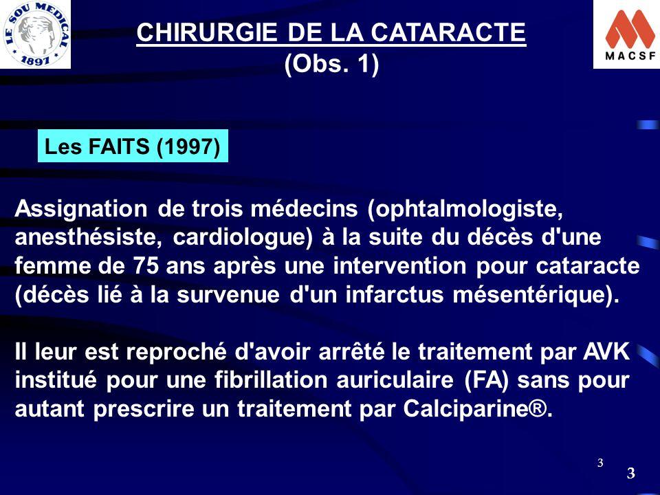 3 3 CHIRURGIE DE LA CATARACTE (Obs. 1) Les FAITS (1997) Assignation de trois médecins (ophtalmologiste, anesthésiste, cardiologue) à la suite du décès