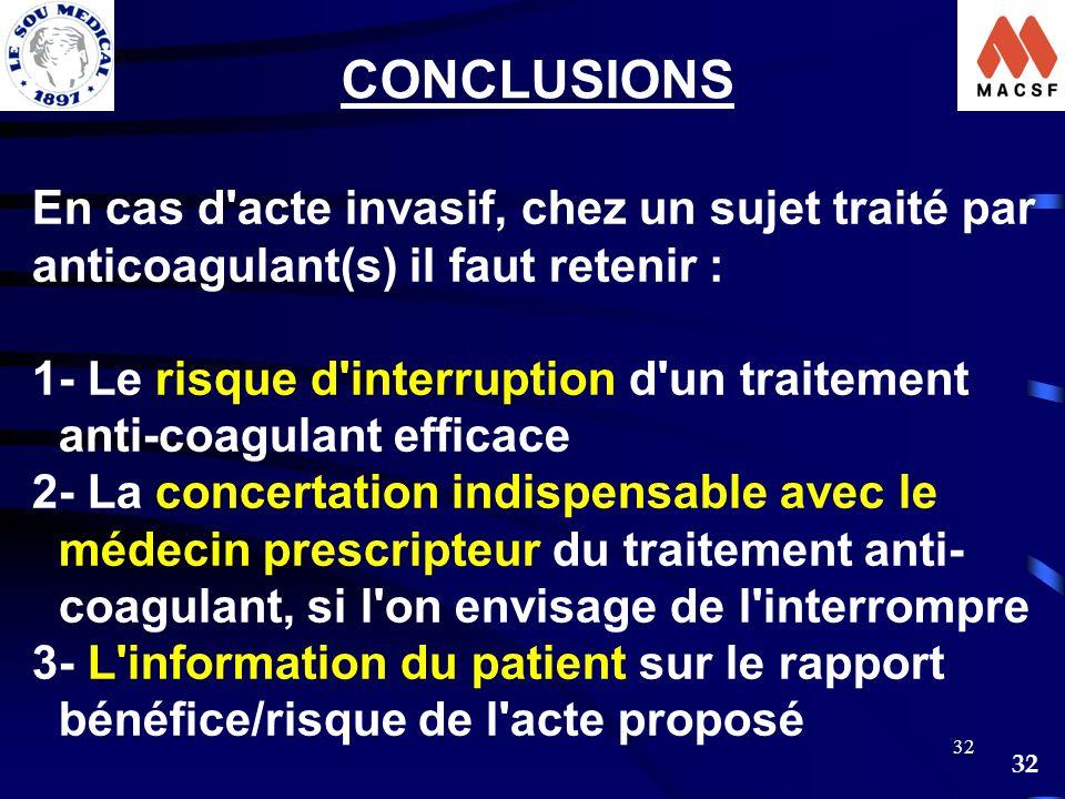 32 En cas d'acte invasif, chez un sujet traité par anticoagulant(s) il faut retenir : 1- Le risque d'interruption d'un traitement anti-coagulant effic