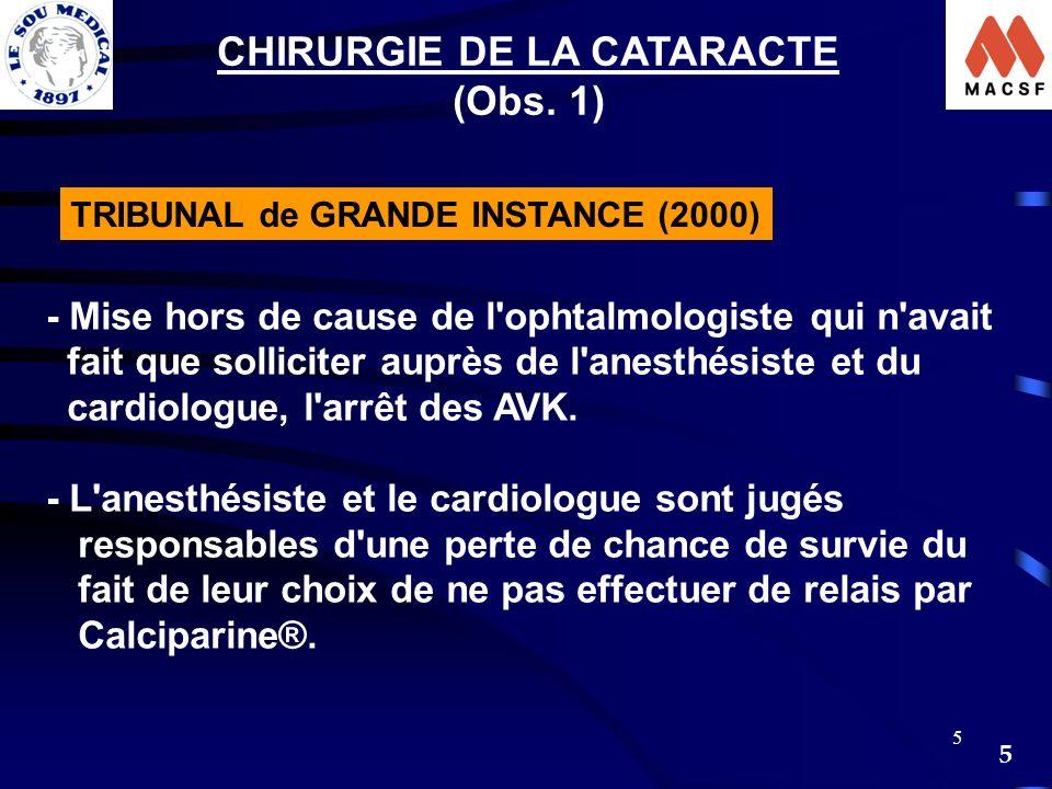 5 5 CHIRURGIE DE LA CATARACTE (Obs. 1) TRIBUNAL de GRANDE INSTANCE (2000) - Mise hors de cause de l'ophtalmologiste qui n'avait fait que solliciter au