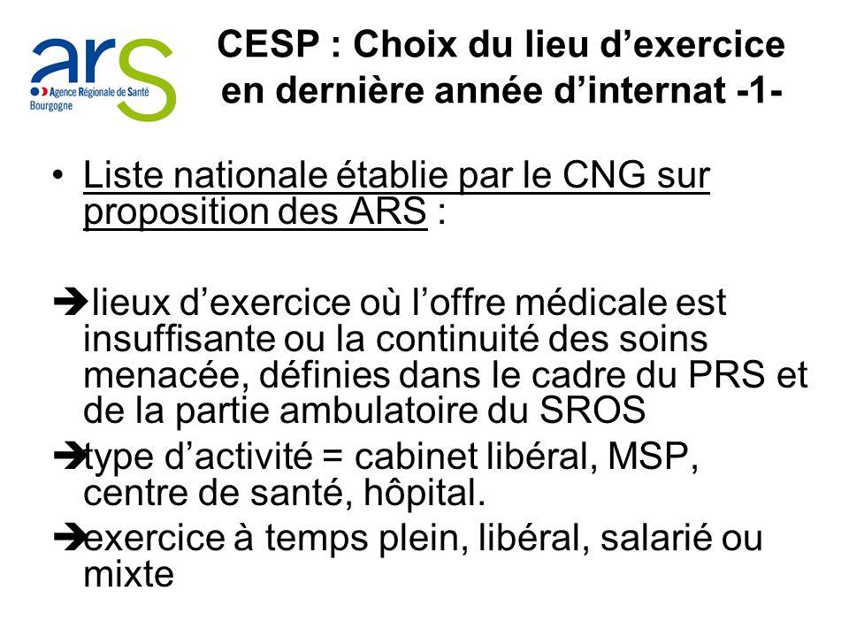 CESP : Choix du lieu dexercice en dernière année dinternat -1- Liste nationale établie par le CNG sur proposition des ARS : lieux dexercice où loffre