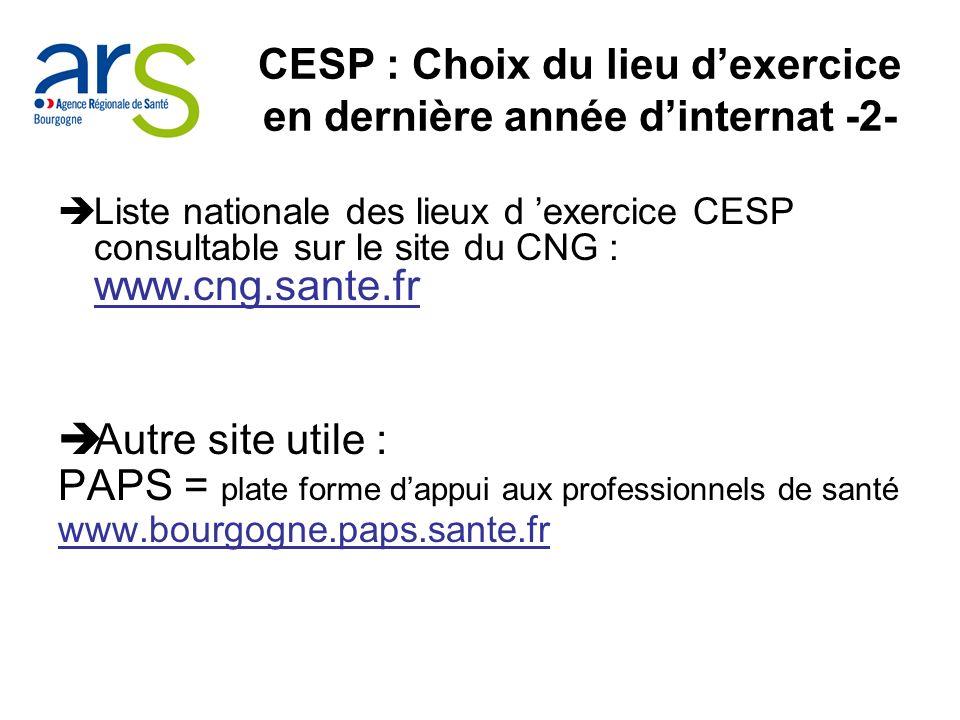 CESP : Choix du lieu dexercice en dernière année dinternat -2- Liste nationale des lieux d exercice CESP consultable sur le site du CNG : www.cng.sant