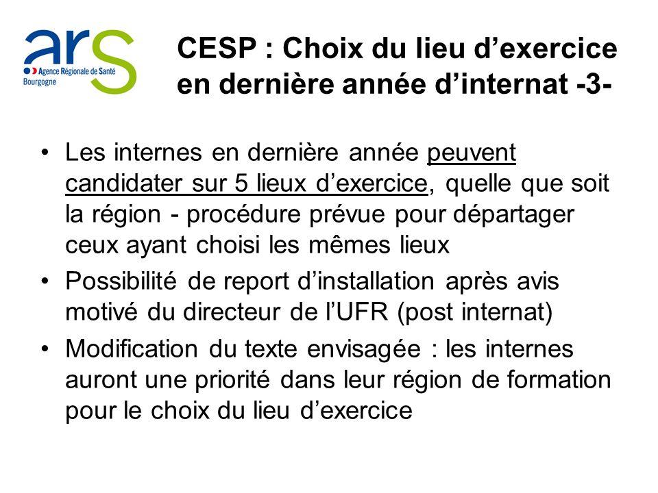 CESP : Choix du lieu dexercice en dernière année dinternat -3- Les internes en dernière année peuvent candidater sur 5 lieux dexercice, quelle que soi