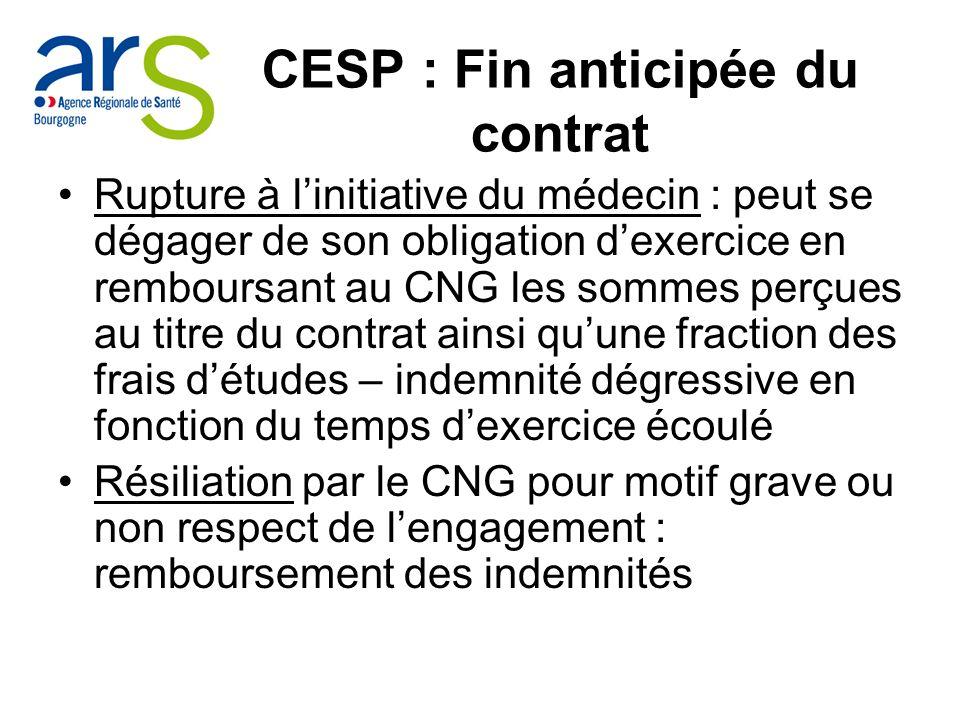 CESP : Fin anticipée du contrat Rupture à linitiative du médecin : peut se dégager de son obligation dexercice en remboursant au CNG les sommes perçue