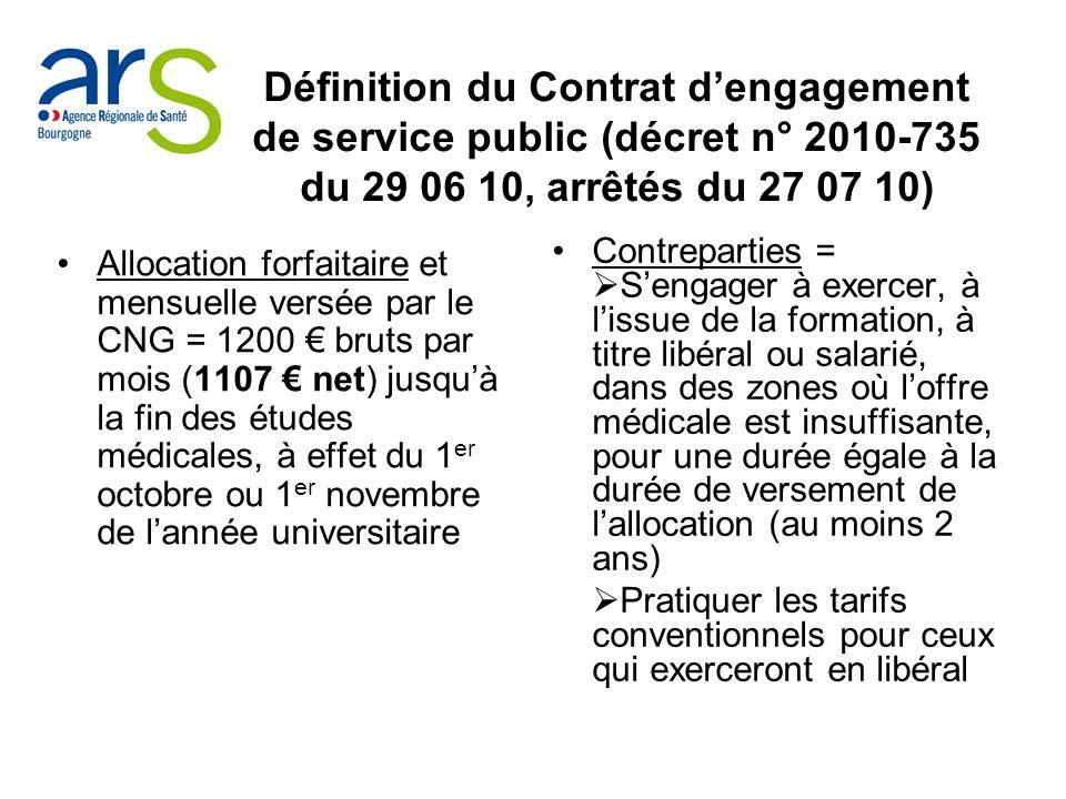 Définition du Contrat dengagement de service public (décret n° 2010-735 du 29 06 10, arrêtés du 27 07 10) Allocation forfaitaire et mensuelle versée p