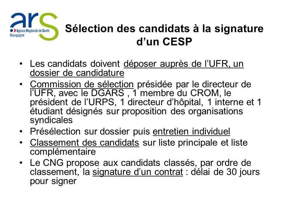 Sélection des candidats à la signature dun CESP Les candidats doivent déposer auprès de lUFR, un dossier de candidature Commission de sélection présid