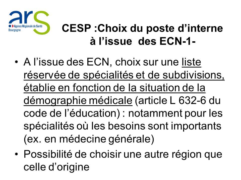CESP :Choix du poste dinterne à lissue des ECN-1- A lissue des ECN, choix sur une liste réservée de spécialités et de subdivisions, établie en fonctio