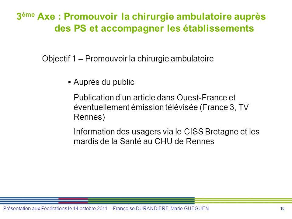 10 Présentation aux Fédérations le 14 octobre 2011 – Françoise DURANDIERE, Marie GUEGUEN 3 ème Axe : Promouvoir la chirurgie ambulatoire auprès des PS