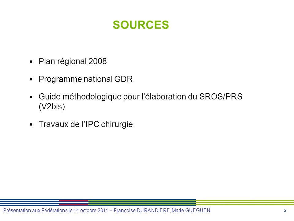 2 Présentation aux Fédérations le 14 octobre 2011 – Françoise DURANDIERE, Marie GUEGUEN SOURCES Plan régional 2008 Programme national GDR Guide méthod