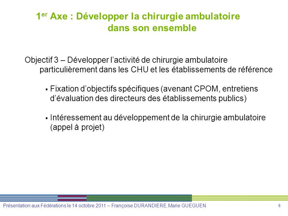 6 Présentation aux Fédérations le 14 octobre 2011 – Françoise DURANDIERE, Marie GUEGUEN 1 er Axe : Développer la chirurgie ambulatoire dans son ensemb