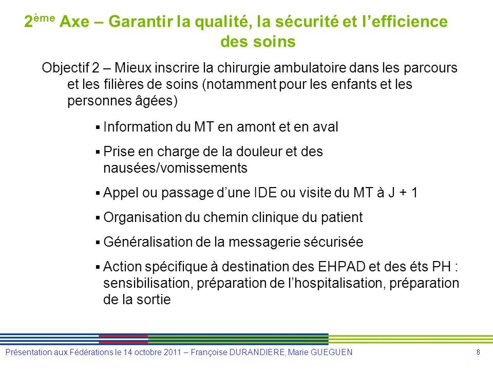 8 Présentation aux Fédérations le 14 octobre 2011 – Françoise DURANDIERE, Marie GUEGUEN 2 ème Axe – Garantir la qualité, la sécurité et lefficience de