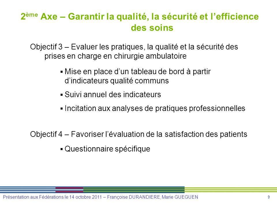 9 Présentation aux Fédérations le 14 octobre 2011 – Françoise DURANDIERE, Marie GUEGUEN 2 ème Axe – Garantir la qualité, la sécurité et lefficience de