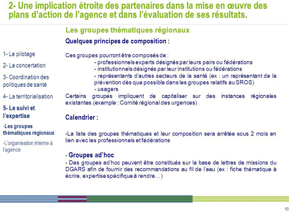 10 2- Une implication étroite des partenaires dans la mise en œuvre des plans daction de lagence et dans lévaluation de ses résultats. Quelques princi