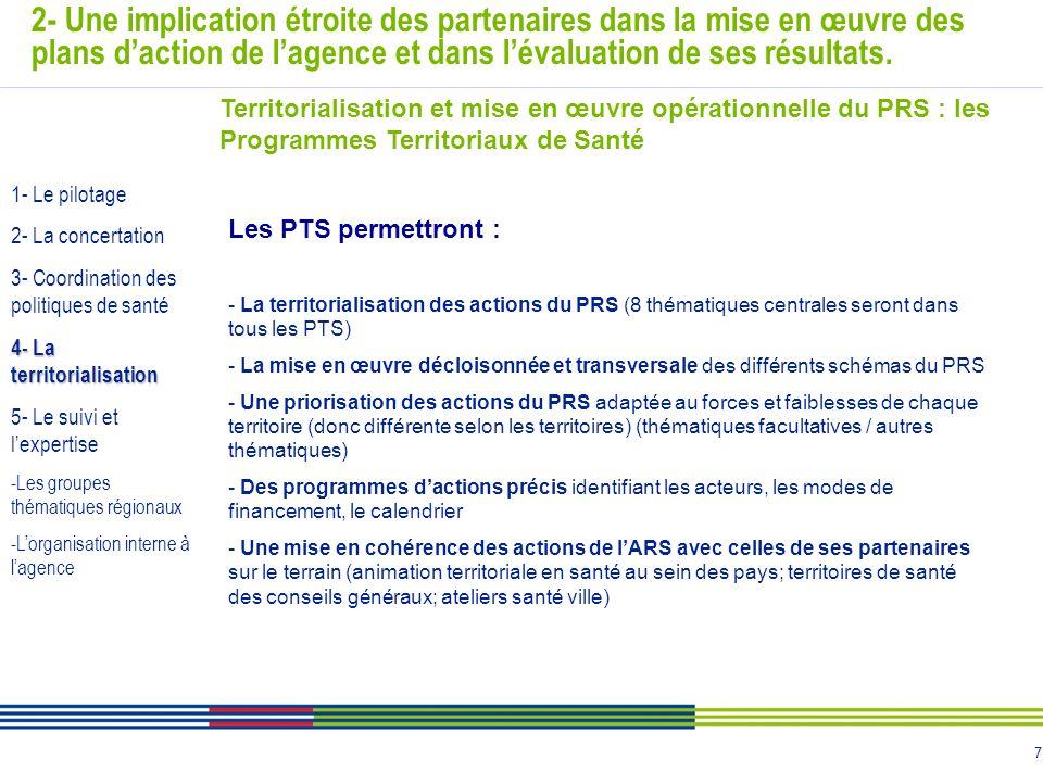 7 2- Une implication étroite des partenaires dans la mise en œuvre des plans daction de lagence et dans lévaluation de ses résultats. Territorialisati