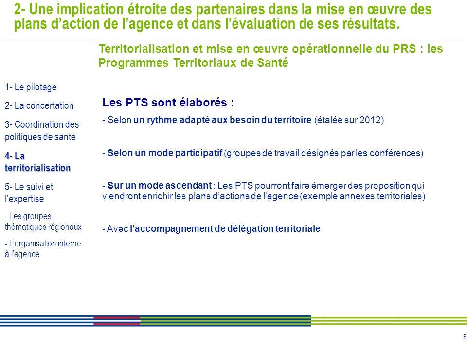 8 2- Une implication étroite des partenaires dans la mise en œuvre des plans daction de lagence et dans lévaluation de ses résultats. Territorialisati